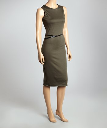 Olive Belted Sleeveless Sheath Dress