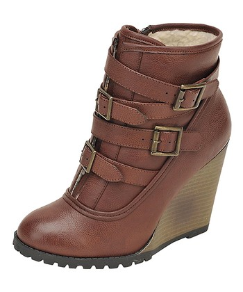 Cognac Buckle Wedge Bootie