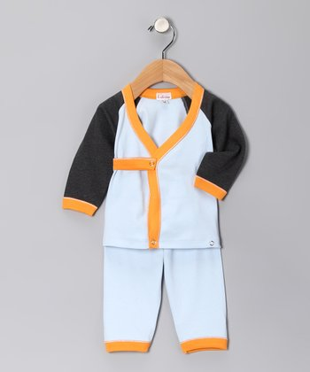 Light Blue & Orange Wrap Top & Pants - Infant