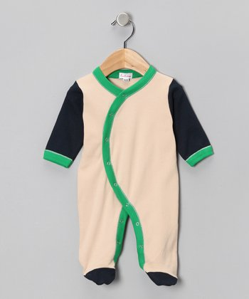 Tan & Navy Footie - Infant