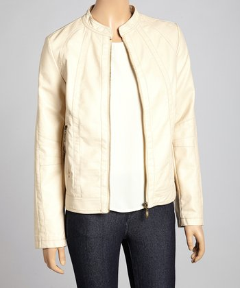 Bone Faux Leather Mock Neck Zip-Up Jacket