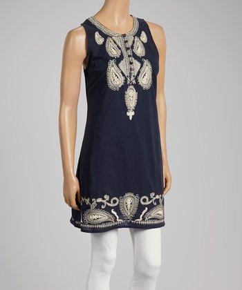 Navy Blue & White Paisley Sleeveless Dress