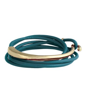Gold & Teal Leather Hook Wrap Bracelet