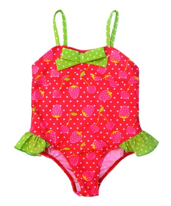Fuchsia Strawberry Bow One-Piece - Infant & Toddler