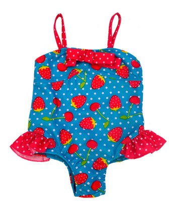 Turquoise Strawberry Bow One-Piece - Infant & Toddler