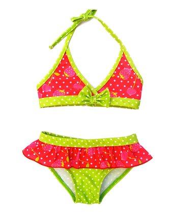 Fuchsia Strawberry Ruffle Bikini - Infant & Toddler