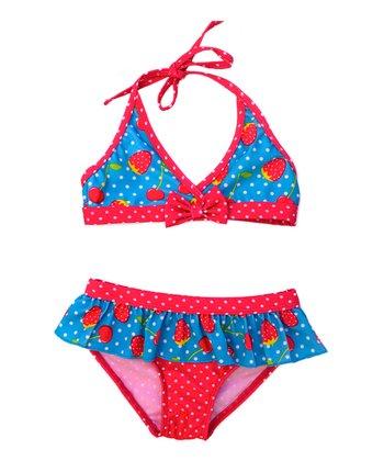 Turquoise Strawberry Ruffle Bikini - Infant & Toddler