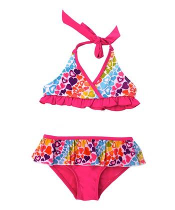 Pink Rainbow Hearts Bikini - Infant & Toddler