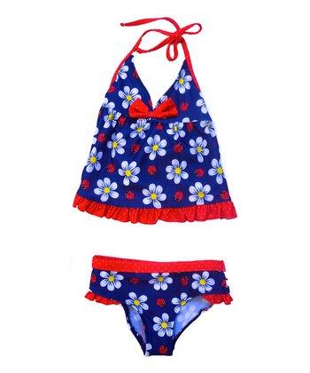 Navy & Red Flower Tankini - Infant & Toddler