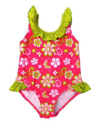 Fuchsia Floral Ruffle One-Piece - Infant & Toddler