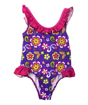 Purple Floral Ruffle One-Piece - Infant & Toddler