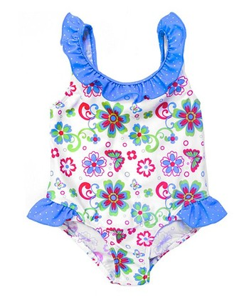 White Floral Ruffle One-Piece - Infant & Toddler
