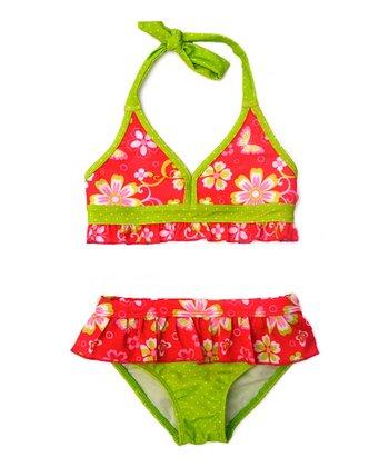 Red & Lime Floral Bikini - Infant & Toddler