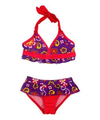 Purple & Red Floral Bikini - Infant & Toddler