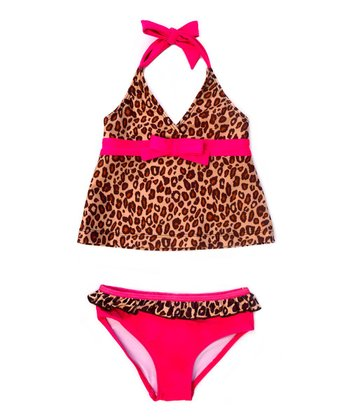 Tan & Fuchsia Leopard Tankini - Infant