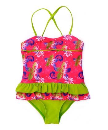 Fuchsia & Green Flower One-Piece - Girls