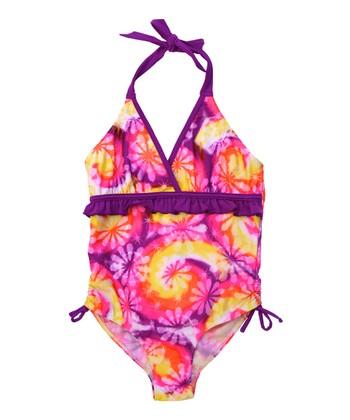 Purple Tie-Dye Halter One-Piece - Girls