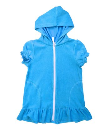 Turquoise Zip-Up Hooded Cover Up - Girls