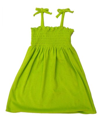 Lime Shirred Tie-Strap Cover Up - Girls