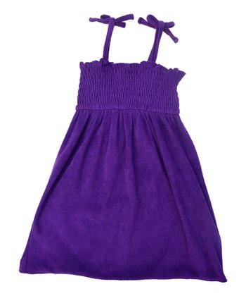 Purple Shirred Tie-Strap Cover Up - Girls