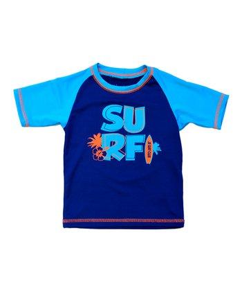 Navy & Turquoise 'Surf' Rashguard - Infant
