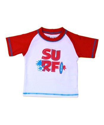 Red & White 'Surf' Rashguard - Infant & Toddler