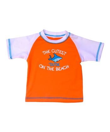 Orange & White 'Cutest Dude' Rashguard - Infant