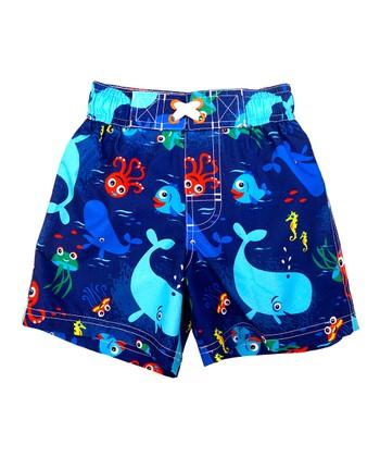 Navy Sea Life Swim Trunks - Infant & Toddler