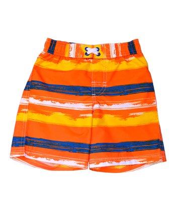 Orange & Yellow Stripe Swim Trunks - Infant & Toddler