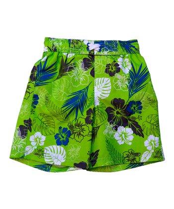 Lime Tropical Swim Trunks - Infant & Toddler