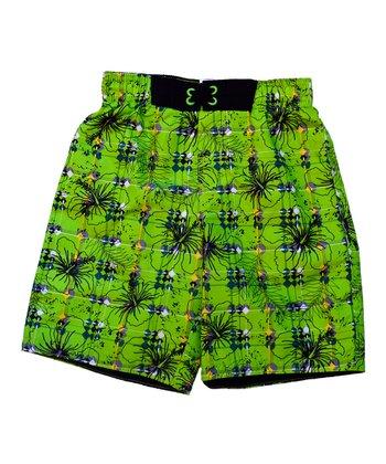 Lime Grid Swim Trunks - Boys
