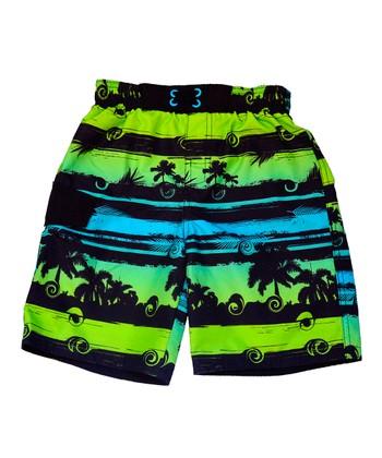 Green Palm Tree Swim Trunks - Boys
