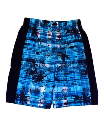 Blue Plaid Palm Tree Swim Trunks - Boys