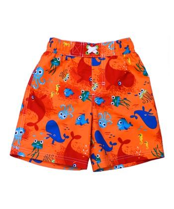 Orange Sea Life Swim Trunks - Infant & Toddler