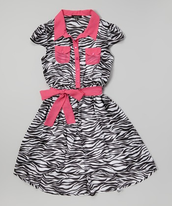 Black & Pink Zebra Shirt Dress - Girls