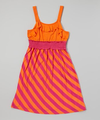 Pink & Orange Stripe Dress - Toddler & Girls