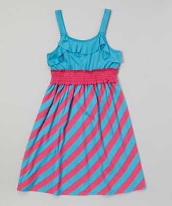 Turquoise & Pink Stripe Dress - Toddler & Girls