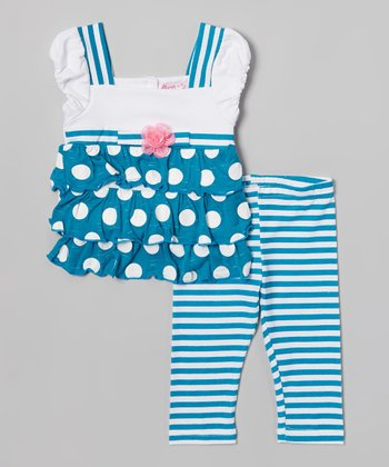 Teal & White Polka Dot Tunic & Leggings - Toddler & Girls