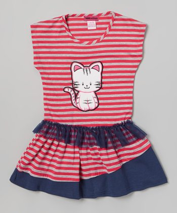 Pink & Gray Stripe Cat Dress - Toddler & Girls