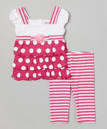 Pink Dot & Stripe Ruffles Tunic & Leggings - Toddler & Girls