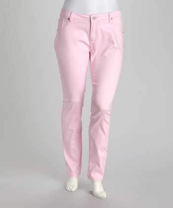 Light Pink Plus-Size Straight-Leg Jeans