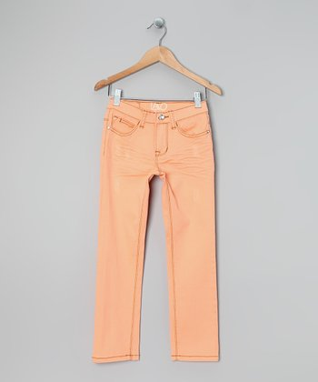 Bright Coral Twill Skinny Pants - Girls
