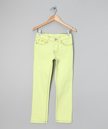 Bright Yellow Twill Skinny Pants - Girls