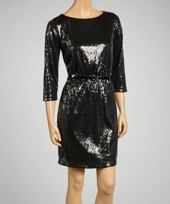 Black Belted Sequin Sway Dress