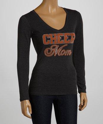 Dark Gray & Orange 'Cheer Mom' Tee - Women