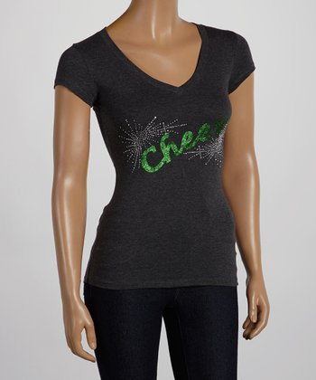 Dark Gray & Green 'Cheer' V-Neck Tee - Women & Plus