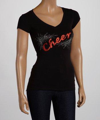 Black & Red 'Cheer' V-Neck Tee - Women & Plus