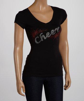 Black 'Cheer' V-Neck Tee - Women & Plus