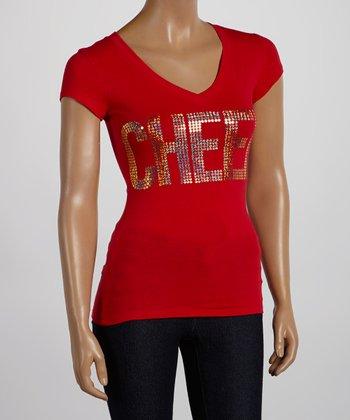 Red Sequin 'Cheer' V-Neck Tee - Women & Plus