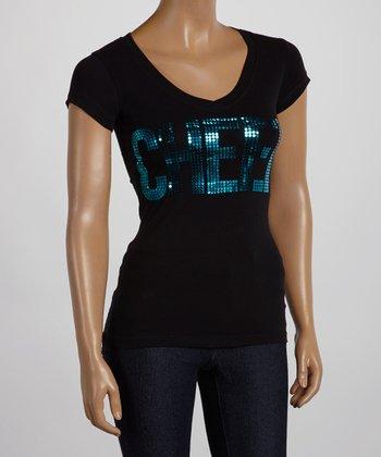 Black & Blue Sequin 'Cheer' V-Neck Tee - Women & Plus